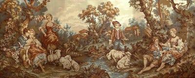 Tapisserie pastorale de vintage avec la scène de poursuite photographie stock