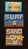 Tapiz de Sun, de la resaca y de la arena Foto de archivo libre de regalías
