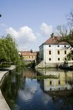 Tapolca. In the 1930's the upper stretch of the Tapolca Stream (Tapolca patak) was broadened by retaining and thus Mill Lake (Malomtó) was created. It has Stock Image