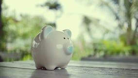 Tappa myntet in i en spargris för sparande pengar inför framtiden arkivfilmer