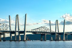 Tappan Zee Bridge spanning the Hudson River on a beautiful sunny day, closeup shot, Tarrytown, Upstate New York, NY stock photography