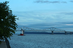 Tappan Zee Bridge and Tarrytown Lighthouse. The Tappan Zee Bridge and Tarrytown Lighthouse in Westchester County, New York Stock Image