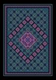 Tappeto bluastro orientale d'annata lussuoso con l'ornamento colorato nel mezzo Fotografie Stock