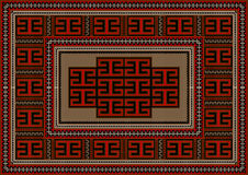 Tappeto d'annata con l'ornamento geometrico etnico Fotografie Stock Libere da Diritti