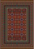 Tappeto d'annata decorato con le progettazioni geometriche Immagini Stock