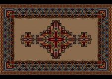 Tappeto d'annata di lusso eterogeneo con l'ornamento etnico su un campo beige Fotografie Stock