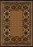 Tappeto di lusso con un modello blu contro le tonalitàdi marrone del backgroundImmagini Stock