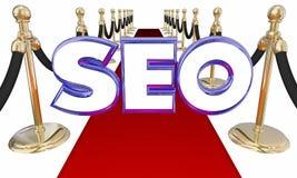 Tappeto di SEO Search Engine Optimization Red Fotografie Stock