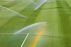 Tappeto erboso di irrigazione Fotografie Stock