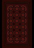 Tappeto eterogeneo con un modello di Borgogna su un fondo nero Immagini Stock