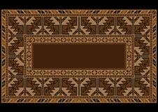 Tappeto etnico con l'ornamento d'annata armeno in tonalità marroni Immagini Stock Libere da Diritti