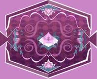 Tappeto floreale porpora con gli oggetti geometrici Fotografia Stock Libera da Diritti