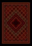 Tappeto orientale d'annata lussuoso con il marooncolorato del indell'ornamentoe le tonalità rosse Fotografia Stock Libera da Diritti