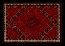 Tappeto orientale d'annata lussuoso marrone rossiccio con l'ornamento colorato sul confine Fotografie Stock
