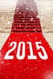 Tappeto rosso con il numero 2015 Fotografia Stock Libera da Diritti