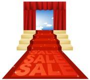 Tappeto rosso di vendita Fotografia Stock