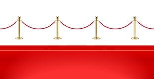 Tappeto rosso e barriera dorata con la corda per la presentazione di VIP Illustrazione di vettore immagine stock libera da diritti