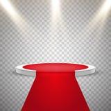 Tappeto rosso e podio rotondo con effetto delle luci Fotografie Stock Libere da Diritti