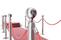 Tappeto rosso isolato su priorità bassa bianca rappresentazione 3d dei sostegni e delle corde d'argento fra loro royalty illustrazione gratis