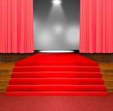 Tappeto rosso sulle scale di legno Fotografie Stock Libere da Diritti