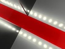 Tappeto rosso vuoto, pista di modo illuminata Immagine Stock Libera da Diritti