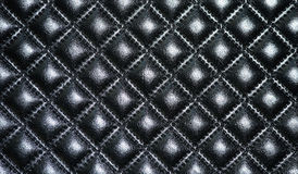 Tappezzeria di cuoio nera di mobilia Fotografie Stock Libere da Diritti