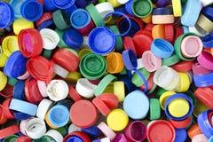Tappi di bottiglia di plastica Immagine Stock