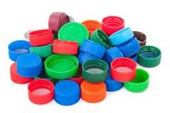 Tappi di bottiglia di plastica Immagini Stock