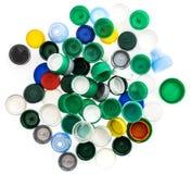 Tappi di bottiglia di plastica nei colori differenti Fotografia Stock Libera da Diritti