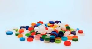 Tappi di bottiglia di plastica per riciclare Fotografia Stock