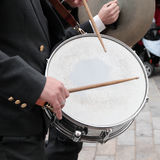 By tapping the drum Stock Photo