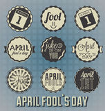Tappning April Fools Day Labels royaltyfri illustrationer