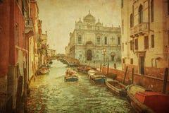 Tappning avbildar av Venedig kanaler Arkivfoton