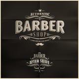 Tappning Barber Shop Badges Arkivfoton