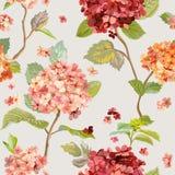 Tappning blommar - blom- Hortensia Background - den sömlösa modellen stock illustrationer