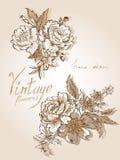 Tappning blommar HD-1 royaltyfri illustrationer