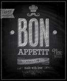 Tappning Bon Appetit Poster - svart tavla. Royaltyfria Foton