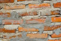 Tappning eller gammal bakgrund, tapet eller textur för vägg för röd tegelsten Arkivbild
