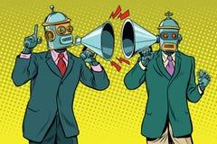 Tappning en dialog mellan två robotar royaltyfri illustrationer