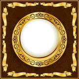 tappning för band för cirkelramguld stock illustrationer