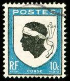 tappning för corsica portostämpel Fotografering för Bildbyråer
