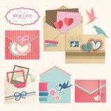 Tappning för dagen för valentin`s packar in. Arkivbild