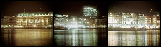 Tappning för ferie för fontain för det Hamburg stadshuset inhyser jul arkivfoton