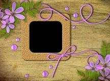 tappning för foto för blommaramar lila Royaltyfri Foto