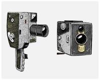 Tappning för fotofilm- eller filmkameran som inristas, handen som in dras, skissar eller träsnittstil, den gamla seende retro lin royaltyfri illustrationer