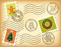 tappning för gammalt paper porto för jul set royaltyfri illustrationer