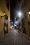 tappning för gata för flod för natt arno bakgrundsflorence för glödande lampa Royaltyfri Bild