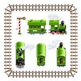 tappning för grön lokomotiv för lagledare set vektor illustrationer