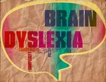 Tappning för grunge för hjärndyslexiaffisch vektor illustrationer
