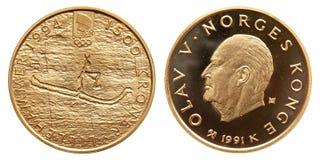 Tappning 1991 för kronor Norge för guld- mynt 1500 royaltyfria bilder